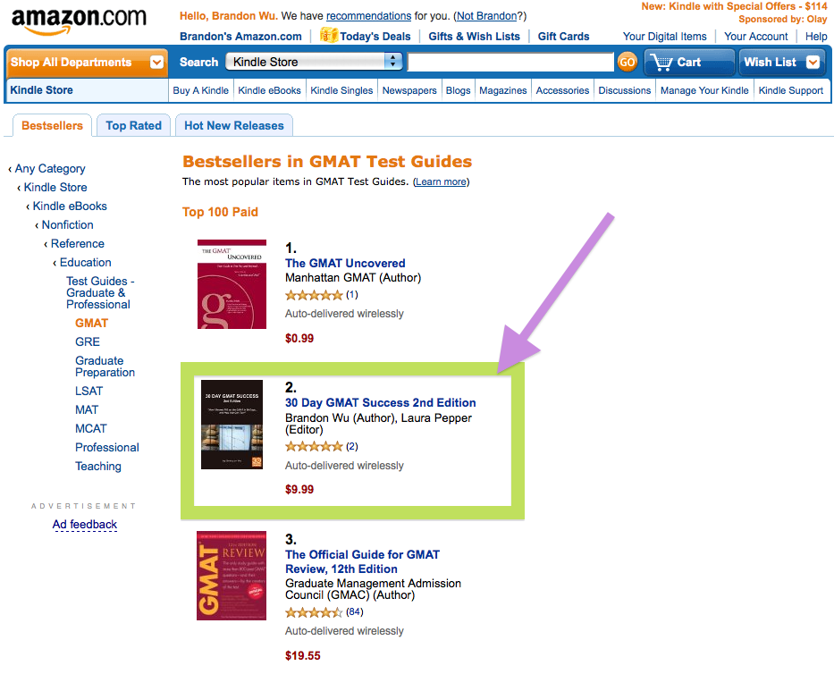 30 Day GMAT Success on Amazon Kindle